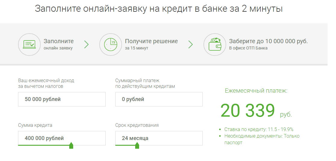 оформление заявки на сайте банка